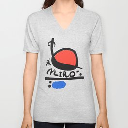 Joan Miró - L oiseau Solaire 1983 - Artwork for Prints Posters Tshirts Bags Women Men Kids Unisex V-Neck