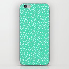 Menthol green and white Memphis pattern iPhone Skin