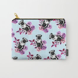 Cute Black Pink Pug Dog Flowers Leaves Pattern Carry-All Pouch