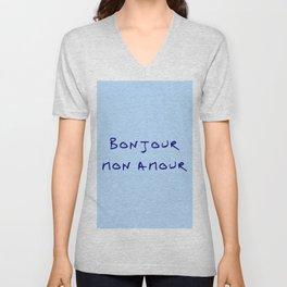 Bonjour mon amour - 2 blue Unisex V-Neck