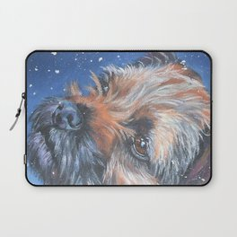 Border Terrier dog portrait art from an original painting by L.A.Shepard Laptop Sleeve