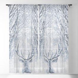 Winter deer Sheer Curtain