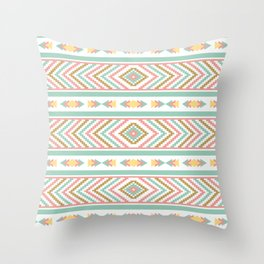 Abstract Tribal Native Geometric Pattern - Bohemian Festival Colorful Throw Pillow