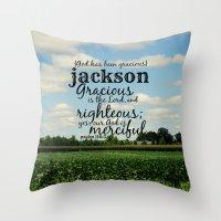 percy jackson Throw Pillows featuring Jackson by KimberosePhotography
