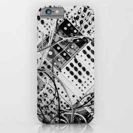 analog synthesizer  - diagonal black and white illustration iPhone Case