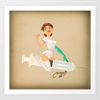 nurse Art Prints featuring nurse by Melissa Ballesteros Parada
