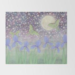 luna moths around the moon with starlit irises Throw Blanket
