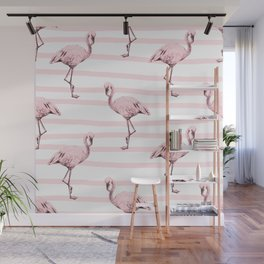 Flamingos on Drawn Stripes in Pink Flamingo Wall Mural