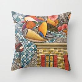 Rooftop Encounter Throw Pillow