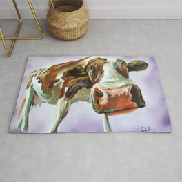 Cow painting, oil on canvas Rug