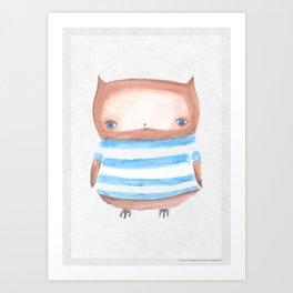 Owl in Stripes Art Print