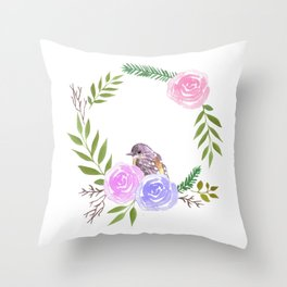 A yellow robin in a rose flower wreath Throw Pillow