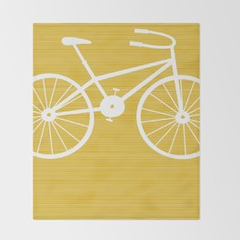 Yellow Bike by Friztin Throw Blanket