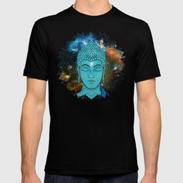 Blue Face of Buddha in the Galaxy T-shirt