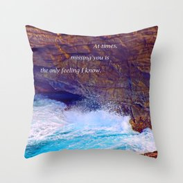 """""""Kauai's Land's End #9"""" with poem: At Times Throw Pillow"""