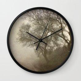 Vigilants Trees in the misty road Wall Clock