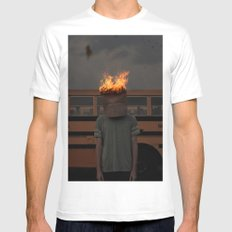 Burning thoughts  MEDIUM Mens Fitted Tee White
