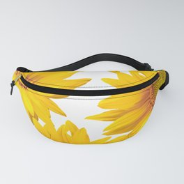 Large Yellow Sunflowers White Background #decor #society6 #buyart Fanny Pack
