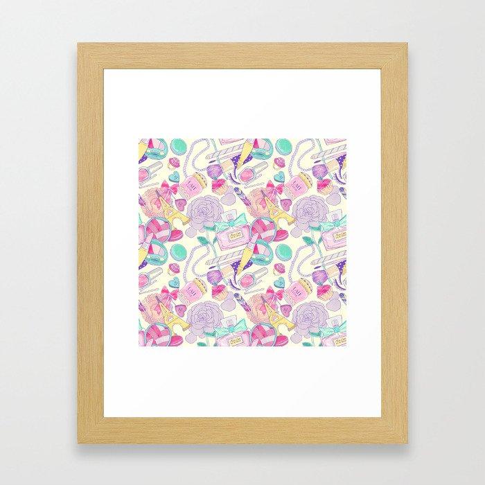 pink paris pattern Framed Art Print