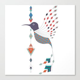 Vintage ethnic tribal aztec bird Canvas Print