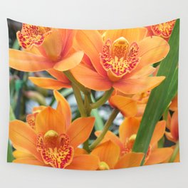 Orchid in Orange Wall Tapestry