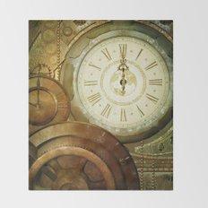 Steampunk, the clocks Throw Blanket
