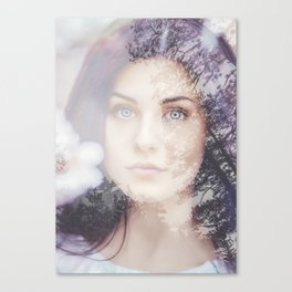 Portrait woman double exposure Canvas Print