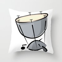 drum Throw Pillows featuring Timpani Drum by shopaholic chick