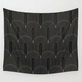 Art Deco Arch Pattern V - Black & White Wall Tapestry