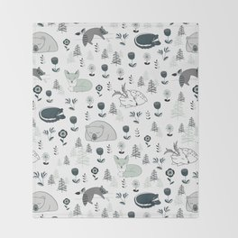 Sleepy Woodland Animals - Mint Throw Blanket