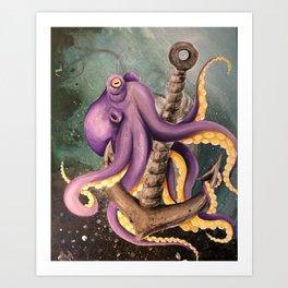 Octopus on Anchor Art Print
