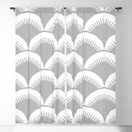 Japanese Fish Scales Gray Blackout Curtain