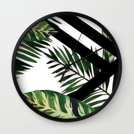 Modern Monstera Palms Wall Clock