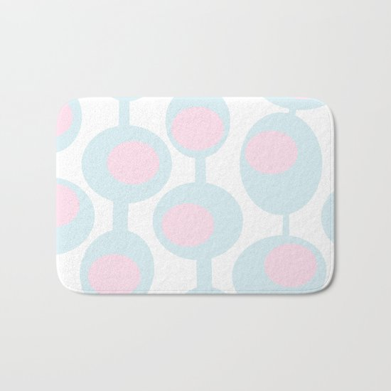 abstract 60ies circles and dots pattern in pink, white and aqua Bath Mat