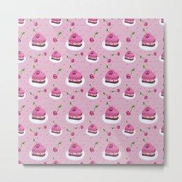 Cherries and cakes cute pattern Metal Print