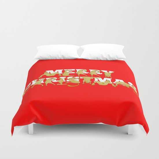 Merry Christmas Ponies Duvet Cover