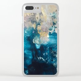 Timeless: A gorgeous, abstract mixed media piece in blue, pink, and gold by Alyssa Hamilton Art Clear iPhone Case