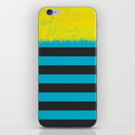 Blue and Charcoal Stripes with Yellow iPhone Skin