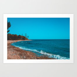 Vintage colored picture of bay at greece Art Print