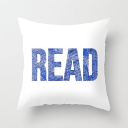 Read Dictionary Page Blue Throw Pillow