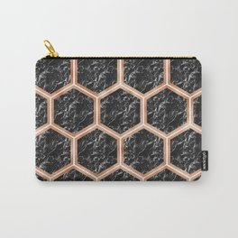 Black campari marble & copper honeycomb Carry-All Pouch