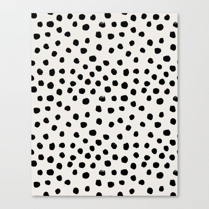 Preppy brushstroke free polka dots black and white spots dots dalmation animal spots design minimal Leinwanddruck