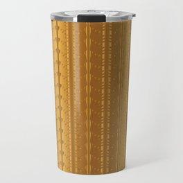 Gold Copper Vertical Stripes Vector Pattern Hand Drawn Background Travel Mug