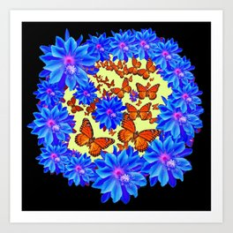 Blue Flowers Butterfly Black Color art Art Print