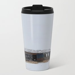 Hopeless, Abandoned, and Alone Under Grey Snow Filled Sky Travel Mug