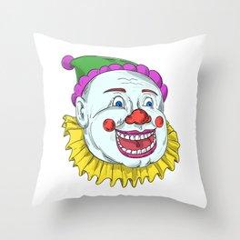 Vintage Circus Clown Smiling Drawing Throw Pillow