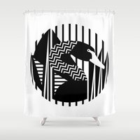black swan Shower Curtains featuring black swan by Gray