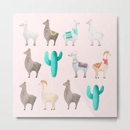Watercolor Llamas Cactus Pattern Metal Print