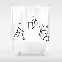 fitness Shower Curtains featuring fitness hometrainer crosstrainer sport by Lineamentum