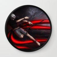 tokyo ghoul Wall Clocks featuring Tokyo Ghoul: Kaneki by Arnix